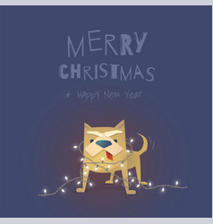 stylized dog with a christmas garland the yellow vector image