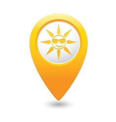 sun symbol yellow map pointer vector image vector image