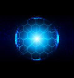 abstract blue lighting with hexagon and mesh vector image vector image