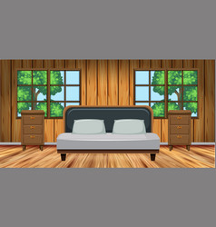 bedroom with wooden furniture vector image