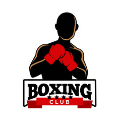 boxing club logotype with sportsman in gloves vector image