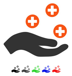 hand offer medicine flat icon vector image