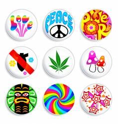 hippie badges vector image vector image