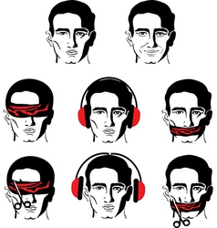 mans face in different versions vector image