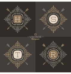 Monogram logo set vector image vector image