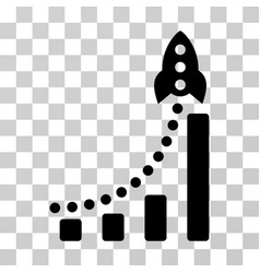 rocket success bar chart icon vector image vector image