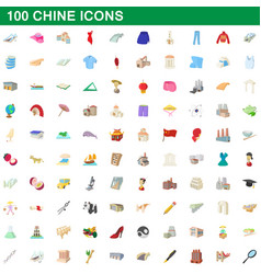 100 chine icons set cartoon style vector image