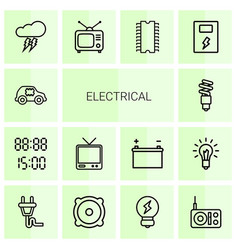 14 electrical icons vector