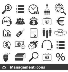 25 management simple icons set vector image