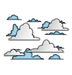 3d paper clouds stylized sky vector image