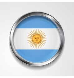 Abstract button with metallic frame Argentinean vector