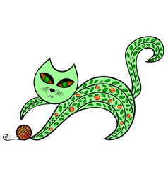 Abstract green cat is playing with a ball vector