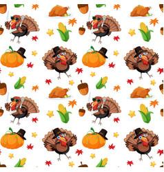 An turkey autumn seamless pattern vector