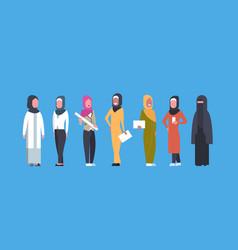 Arabic business women group full length arab vector