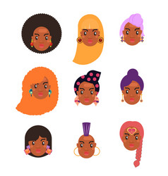 black skin woman hairstyles set vector image