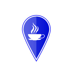 Blue map pointer with cup icon vector