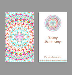 Business card template ethnic tribal ornaments vector