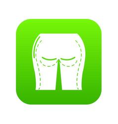 Buttocks liposuction icon green vector
