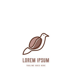 canary dove pigeon bird with coffee bean line vector image