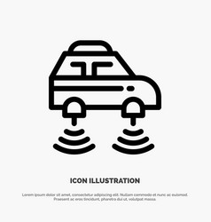 Car electric network smart wifi line icon vector
