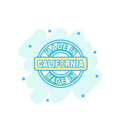 cartoon colored made in california icon in comic vector image