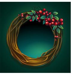 Cartoon wreath of vines with vector