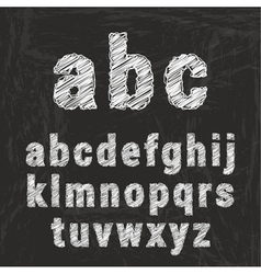 chalk alphabet on black background illustration vector image