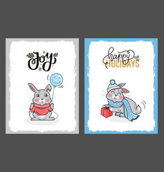 clipart rabbits on happy holidays cards vector image