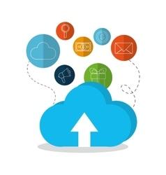 Cloud computing and digital marketing design vector image