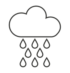 Cloud with rain drops isolated icon design vector