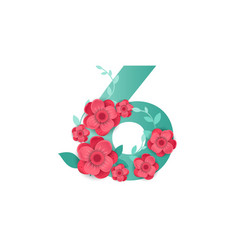 color number 6 with beautiful flowers vector image