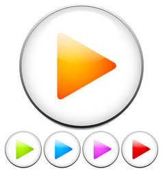 Colorful bright play buttons vector