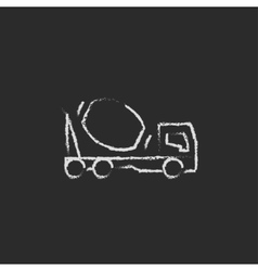 Concrete mixer truck icon drawn in chalk vector image