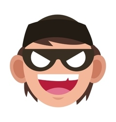 Criminal man with mask icon vector
