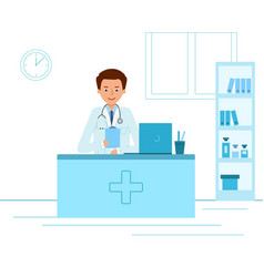 doctor therapist sitting at a table in medical vector image