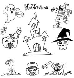 Doodle Halloween castle pumpkins zombie vector