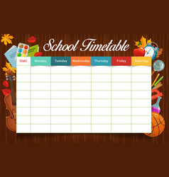 education school timetable or schedule template vector image
