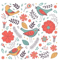 Elegant composition with flowers and birds vector image