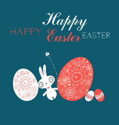 festive easter card with eggs and a rabbit vector image
