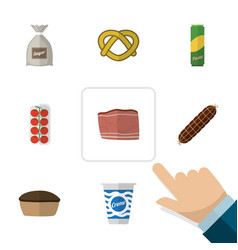 Flat icon food set of tart tomato cookie and vector