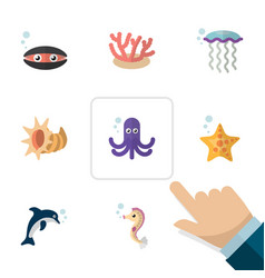 flat icon marine set of medusa tentacle playful vector image
