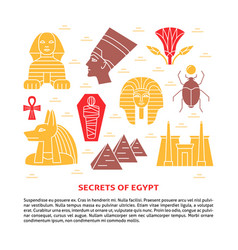 Flat style banner with egypt symbols and place for vector