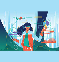 flat young attractive woman in high tech world vector image