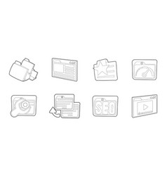 folder icon set outline style vector image