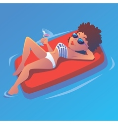 Girl in the pool on airbed with martini vector