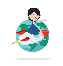 girl on rocket with earth vector image