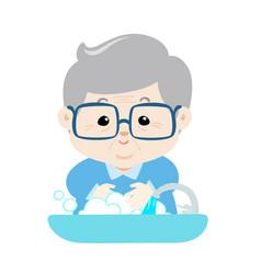 grandpa washing his hands vector image