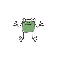 Green funny frog vector