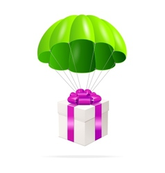 Green Parachute with a gift box vector image