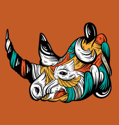 Hand drawn rhino with decorative elements vector